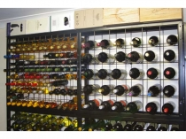 combo wine rack with a shelf on top