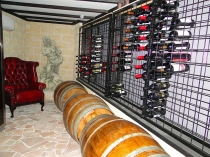 powder coated wine racks in a cellar