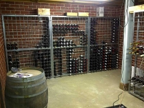 galvanised wine racks in cellar