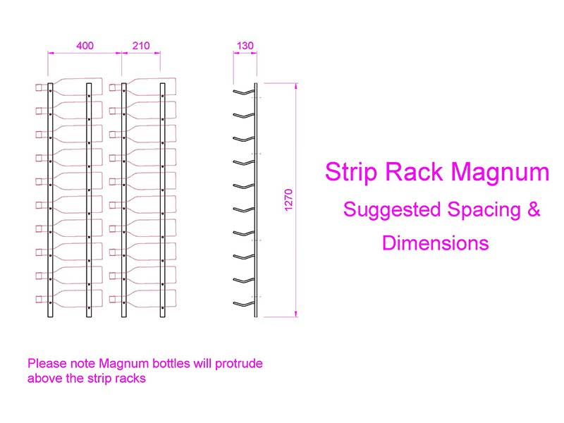 Magnum Strip Wine Rack, Wine Bottle Storage Dimensions