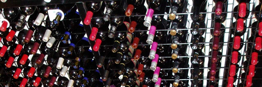 Wine Bottles in Powder Coated Racks